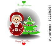 santa claus with christmas tree | Shutterstock .eps vector #522256084