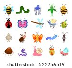 funny bugs. vector cute bugs... | Shutterstock .eps vector #522256519