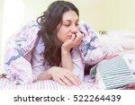 girl wake up in the morning... | Shutterstock . vector #522264439