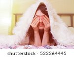 girl wake up in the morning and ... | Shutterstock . vector #522264445