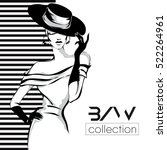 black and white fashion woman... | Shutterstock .eps vector #522264961