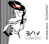 black and white fashion woman... | Shutterstock .eps vector #522264967