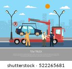 tow truck evacuating car from... | Shutterstock .eps vector #522265681
