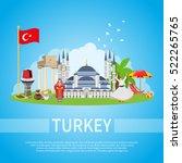 turkey flat design composition...   Shutterstock .eps vector #522265765