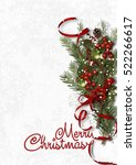 christmas card with mistletoe... | Shutterstock . vector #522266617