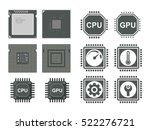 cpu and gpu processor icon set
