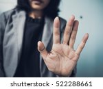 woman showing  stop sign with... | Shutterstock . vector #522288661