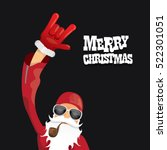 vector rock n roll santa claus... | Shutterstock .eps vector #522301051