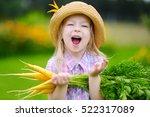 cute little girl wearing straw... | Shutterstock . vector #522317089