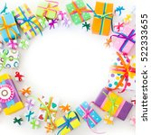 christmas gift boxes. top view... | Shutterstock . vector #522333655