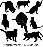 Stock vector cats silhouette collection vector 522335005