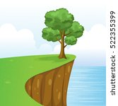 tree on cliff scenery with... | Shutterstock .eps vector #522355399