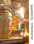 Small photo of BANGKOK,THAILAND-NOVEMBER 18,2016 : Closer view of the shrine ( The four-faced Brahma statue or Phra Phrom ) at Ratchaprasong intersection of Ratchadamri Road in Pathum Wan District,Bangkok,Thailand.