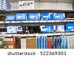 blurred rows of smart tvs with... | Shutterstock . vector #522369301