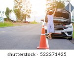 woman with hatchback car broken ... | Shutterstock . vector #522371425