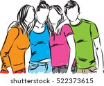 group of teenagers illustration | Shutterstock .eps vector #522373615