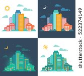 silhouettes of buildings. urban ... | Shutterstock . vector #522374149