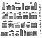 silhouettes of buildings. urban ... | Shutterstock . vector #522374155