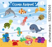 ocean animals cartoon with... | Shutterstock .eps vector #522375505