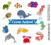Ocean Animal Cartoon On White...
