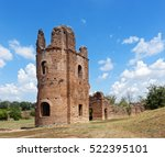 Small photo of Ruins of Circus and Villa di Massenzio is archeological site in the Roman countryside. Villa belonged to Emperor Maxentius, Constantineâ??s adversary in the Battle of the Milvian Bridge in 312 AD