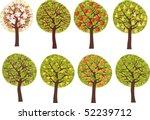 various fruit trees  in blossom ... | Shutterstock .eps vector #52239712