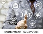 businessman presses iot button... | Shutterstock . vector #522399901