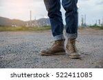 closeup of leg of engineers or... | Shutterstock . vector #522411085