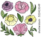 hand drawn set of flowers and... | Shutterstock .eps vector #522413149