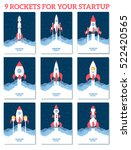 vector startup set with rocket... | Shutterstock .eps vector #522420565
