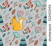 seamless pattern merry... | Shutterstock .eps vector #522423454