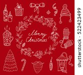 merry christmas card with... | Shutterstock .eps vector #522423499
