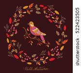 autumn forest card with... | Shutterstock .eps vector #522423505