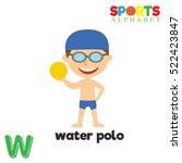 cute sports alphabet in vector. ... | Shutterstock .eps vector #522423847