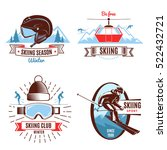 skiing season emblems with... | Shutterstock .eps vector #522432721