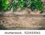 variety of fresh herbs on... | Shutterstock . vector #522433561