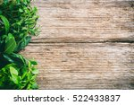 variety of fresh herbs on... | Shutterstock . vector #522433837