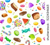 sweet candy seamless background ... | Shutterstock .eps vector #522434665