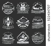 set of nine isolated emblems of ... | Shutterstock .eps vector #522434707