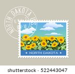 north dakota postage stamp... | Shutterstock .eps vector #522443047