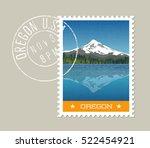 oregon  postage stamp design. ... | Shutterstock .eps vector #522454921