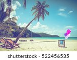 beach background  with coconut... | Shutterstock . vector #522456535