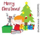 boy opening christmas gift with ... | Shutterstock .eps vector #522459991