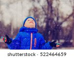 Little Boy Enjoy First Snow In...