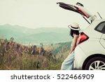 woman traveler sitting on... | Shutterstock . vector #522466909