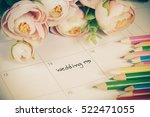 word wedding on calendar with... | Shutterstock . vector #522471055