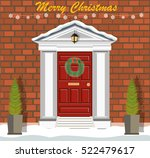 decorated christmas door with... | Shutterstock .eps vector #522479617