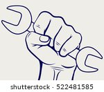 working hand with wrench... | Shutterstock .eps vector #522481585