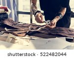 fashion designer cutting tailor ... | Shutterstock . vector #522482044
