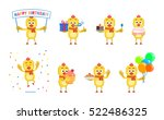 set of cartoon chicken... | Shutterstock .eps vector #522486325
